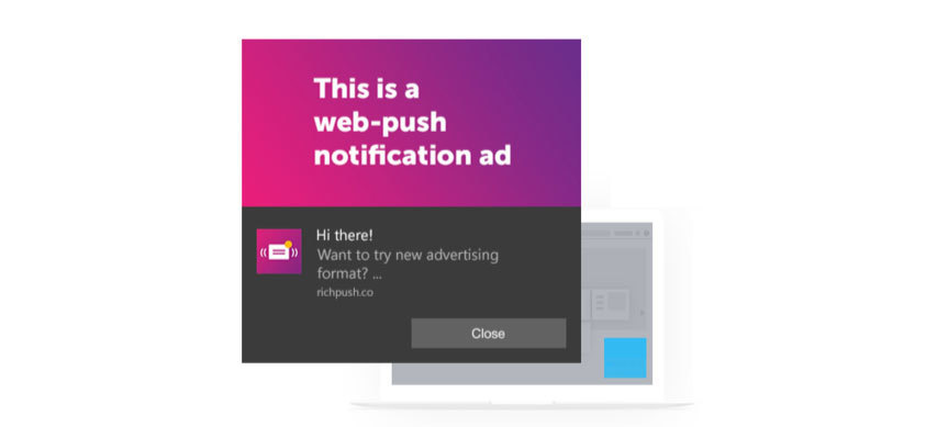 The view of a push notification on Windows 10 Home