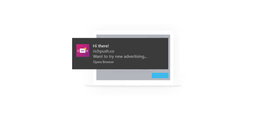 Push ads in Opera browser