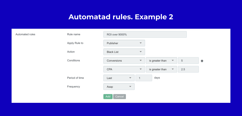 Example How to set up automated rules for push and pops traffic