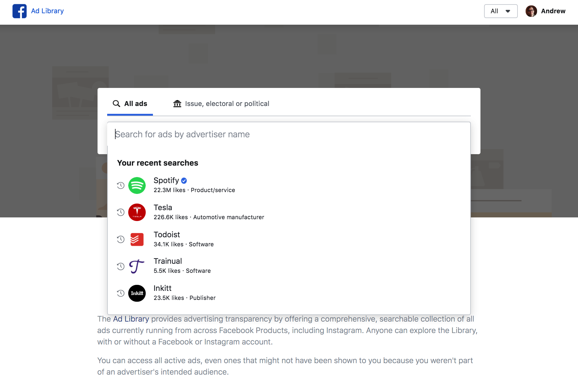 how to set up ad library for facebook and instagram