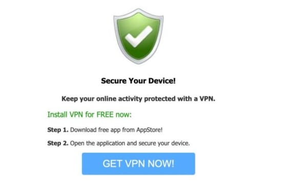 Here's an example of a VPN app landing page for popunders