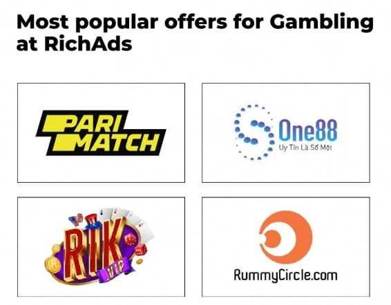 Most popular offers for Gambling at RichAds