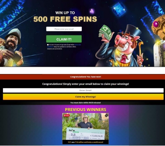 pre-landing page example for opt-in for gambling