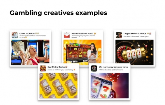 examples of creatives for gambling in affiliate marketing